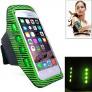 For iPhone 6 Plus Green Colorful Sport Armband Case with LED Lighting