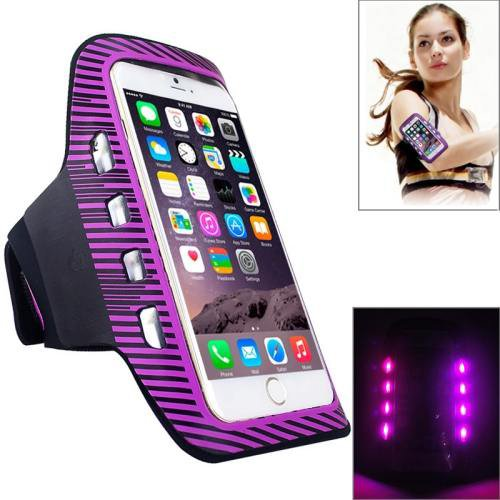 For iPhone 6 Plus Purple Colorful Sport Armband Case with LED Lighting