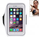 For iPhone 6 Plus White Sport Armband Case with Earphone Hole and Key Pocket