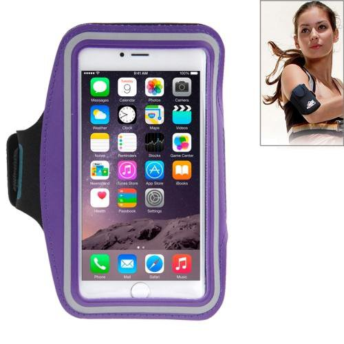 For iPhone 6 Plus Purple Sport Armband Case with Earphone Hole and Key Pocket