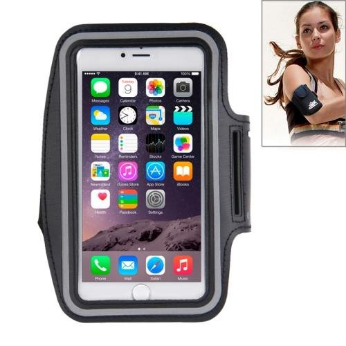 For iPhone 6 Plus Black Sport Armband Case with Earphone Hole and Key Pocket