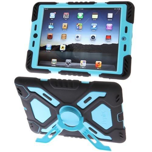 For iPad Mini 1/2/3 Blue PEPK Dual Layer Silicone + Plastic Combination Case with Holder & Sticker