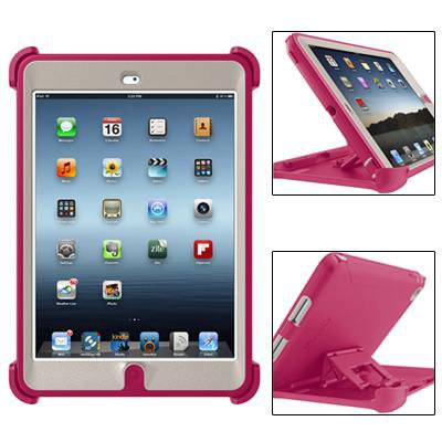 For iPad Mini 1/2/3 Magenta Defender Series Protective Case with Stand