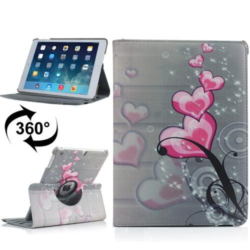 For iPad Air Rotatable Hearts Pattern Leather Case with 3 Gears Holder