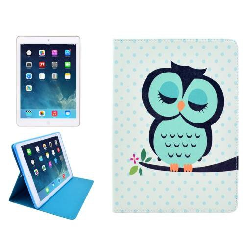 For iPad Air Owl Pattern Smart Cover Leather case with Holder