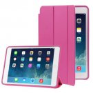 For iPad Air Magenta 3-folding Naturally Treated Leather Smart Cover Case with Holder