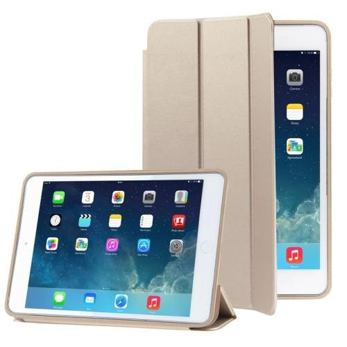 For iPad Air Golden 3-folding Naturally Treated Leather Smart Cover Case with Holder