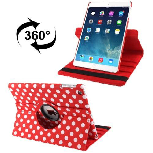 For iPad Air Red Dot Pattern Rotatable Smart Cover Leather Case with 3 Gears Holder