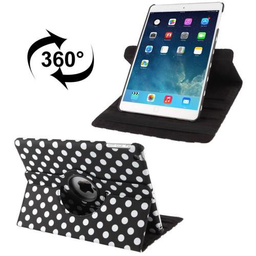 For iPad Air Black Dot Pattern Rotatable Smart Cover Leather Case with 3 Gears Holder