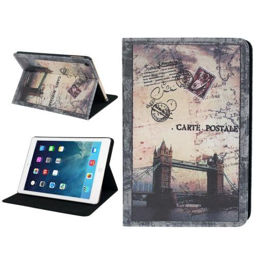 For iPad Air Postcard Style London Bridge  Leather Case with Holder & Sleep / Wake-up Function