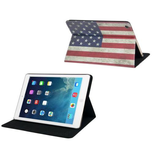 For iPad Air Retro USA Flag Pattern Leather Case with Holder & Sleep / Wake-up Function