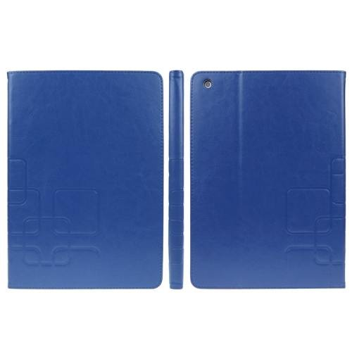 For iPad Air Blue Crazy Horse Embossing Smart Cover PU Leather Case with Card Slots