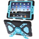 For iPad Air Blue PEPK Dual Layer Silicone + Plastic Combination Case with Holder & Sticker