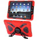 For iPad Air Red PEPK Dual Layer Silicone + Plastic Combination Case with Holder & Sticker