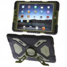 For iPad Air Green PEPK Dual Layer Silicone + Plastic Combination Case with Holder & Sticker