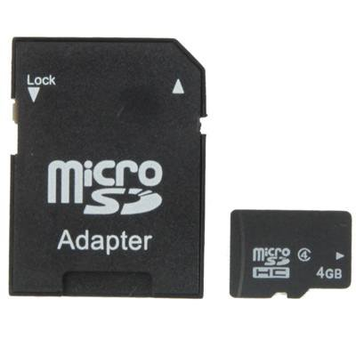 4GB High Speed Class 4 Micro SD(TF) Memory Card from Taiwan, Write: 7mb/s, Read: 15mb/s