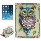 For iPad Air/iPad 5 Owl Pattern Leather Case with Holder, Card Slots & Wallet