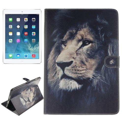 For iPad Air/iPad 5 Lion Pattern Leather Case with Holder, Card Slots & Wallet