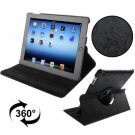 For iPad 4/3/2 Black Embossing Flower Rotatable Sleep / Wake-up Function Leather Case with Holder