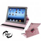 For iPad 4/3/2 Pink Embossing Flower Rotatable Sleep / Wake-up Function Leather Case with Holder