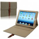 For iPad 4/3/2 Grey Leather Case/Bag with 3 Gear Holder & Buckle and Sleep/Wake-up Function