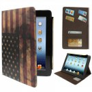 For iPad 4/3/2 Retro USA Flag Leather Case with Credit Card Slot