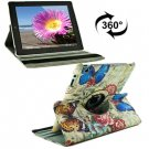 For iPad 4/3/2 360 Degree Rotation Butterfly Love Flower Pattern Flip Leather Case with Holder