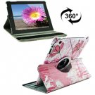 For iPad 4/3/2 360 Degree Rotation Flower Pattern Flip Leather Case with Holder