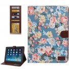 For iPad 4/3/2 Peony Pattern Denim Texture Leather Case with Card Slots & Holder
