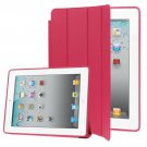 For iPad 4/3/2 Magenta 4-folding Slim Smart Cover Leather Case with Holder