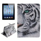For iPad 4/3/2 Tiger Pattern Leather Case with Holder, Card Slots & Wallet