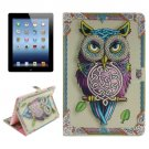 For iPad 4/3/2 Owl Pattern Leather Case with Holder, Card Slots & Wallet