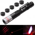 4mw 650nm Red Beam Aluminum Handheld Adjustable Focus Laser Pointer with 5 Laser Light Patterns