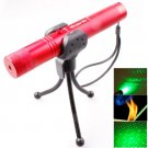 4mw 532nm 303 Green Beam Gypsophila Pattern Adjustable Focus Laser Pointer with Holder - Red