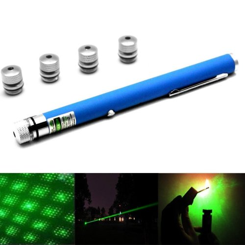 4mw 532nm Green Beam Laser Stage Pen with 5 Laser Light Patterns, Built-in Battery - Blue