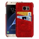 For Samsung Galaxy S7 Edge Red Oil Wax Texture Leather Back Cover Case with Card Slots