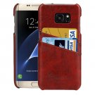 For Samsung Galaxy S7 Edge Brown Oil Wax Texture Leather Back Cover Case with Card Slots