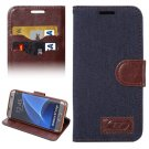 For Galaxy S7 Edge Black Jeans Horizontal Flip Leather Case with Holder & Card Slots