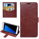 For Galaxy S7 Edge Brown Fine Sheepskin Flip Leather Case with Holder & Card Slots