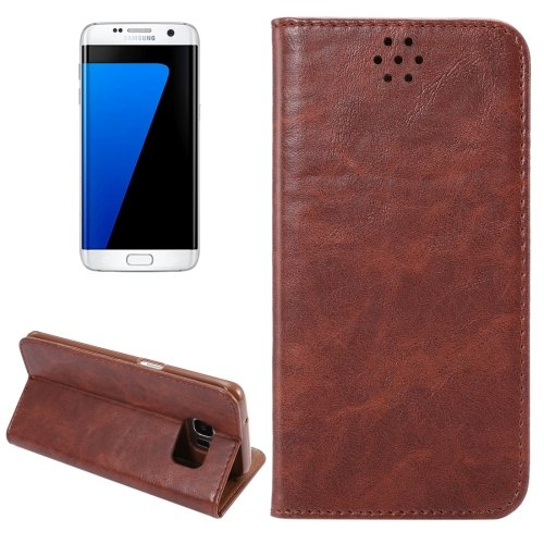 For Galaxy S7 Edge Brown Crazy Horse Magnetic Leather Case with Holder & Card Slot