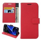 For Galaxy S7 Edge Red Litchi Flip Leather Case with Holder, Card Slots & Wallet