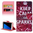For Galaxy S7 Edge SPARKLE Flip Leather Case with Holder, Card Slots & Wallet