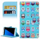 For Galaxy S7 Edge Cartoon Owls Flip Leather Case with Holder, Card Slots & Wallet