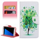 For Galaxy S7 Edge Green Tree Flip Leather Case with Holder, Card Slots & Wallet