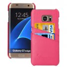 For Galaxy S7 Edge Magenta Fashion Genuine Litchi Leather Back Cover Case with Card Slots