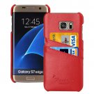 For Galaxy S7 Edge Red Fashion Genuine Litchi Leather Back Cover Case with Card Slots