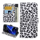 For Galaxy S7 Edge White Leopard Leather Case with Holder; Card Slots & Wallet