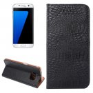 For Galaxy S7 Edge Black Crocodile Magnetic Flip Leather Case with Holder & Card Slots