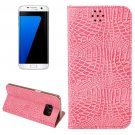For Galaxy S7 Edge Pink Crocodile Magnetic Flip Leather Case with Holder & Card Slots