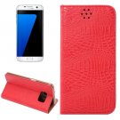 For Galaxy S7 Edge Red Crocodile Magnetic Flip Leather Case with Holder & Card Slots